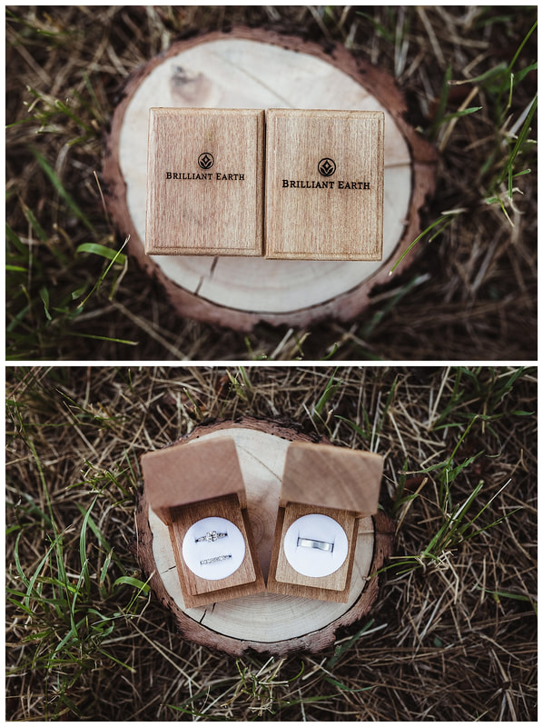 Brilliant Earth wedding rings in wooden boxes in Bend, Oregon