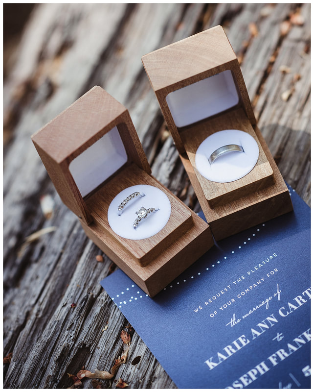 Brilliant Earth wedding rings in wood boxes at Bend, Oregon wedding