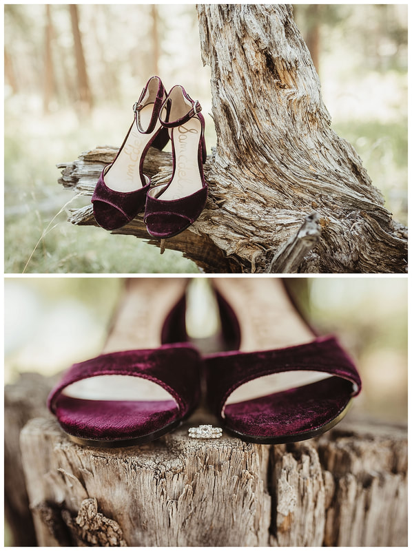 Bend Oregon wedding day shoes on wood log