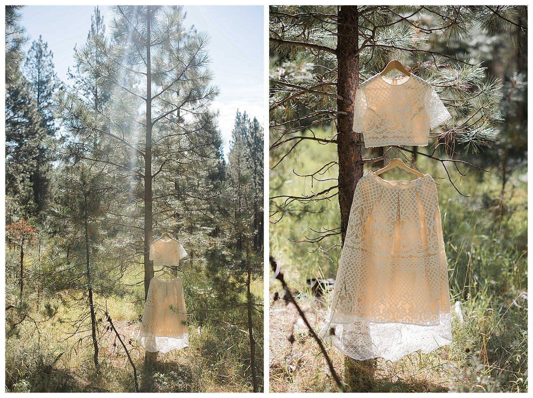Bend Oregon Wedding Photographer and lace wedding dress in Ponderosa Pines