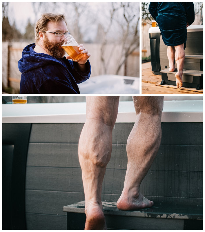 Dudeoir hot tub photo shoot with beareded man and muscular calves.