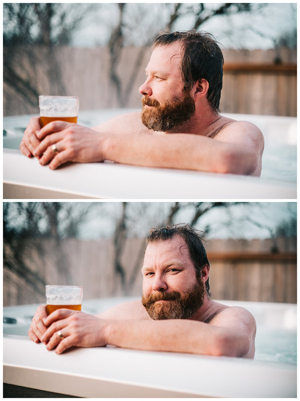 Dad in hot tub with beard and beer.