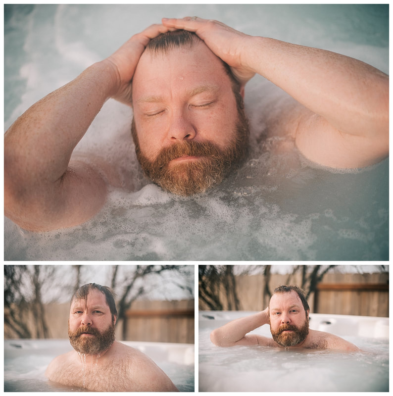 Hot tub dudeoir sexy photo shoot with bearded man.