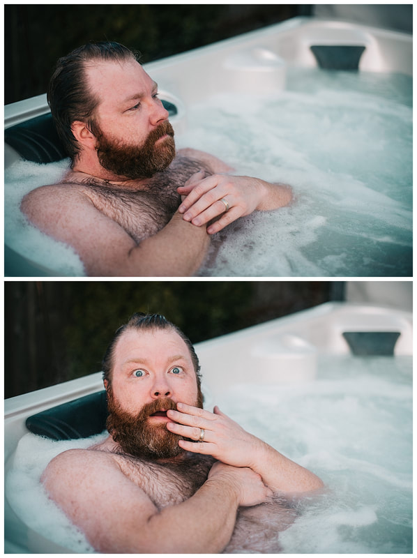 Hot tub dudeoir sexy photo shoot with bearded man.Picture
