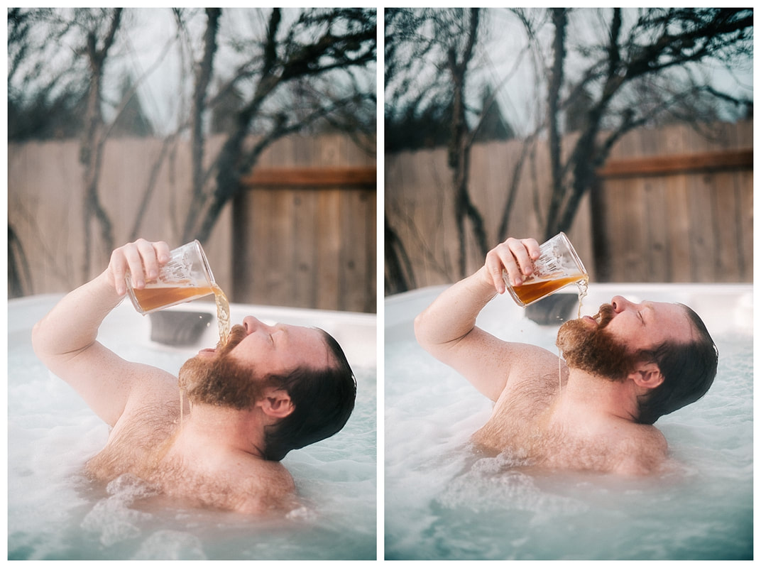 Hot tub dudeoir sexy photo shoot with bearded man drinking beer.