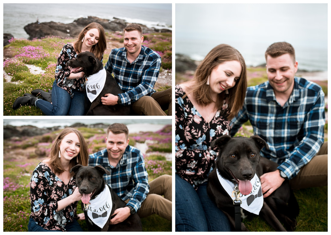 Oregon coast engagement session with a dog